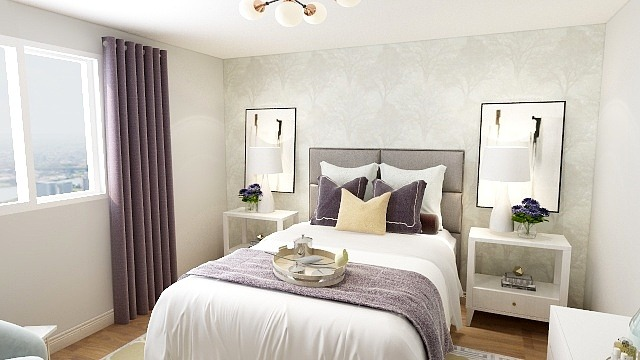 Interior designer in Chatham and Windsor redecorating a master bedroom in a newly built home