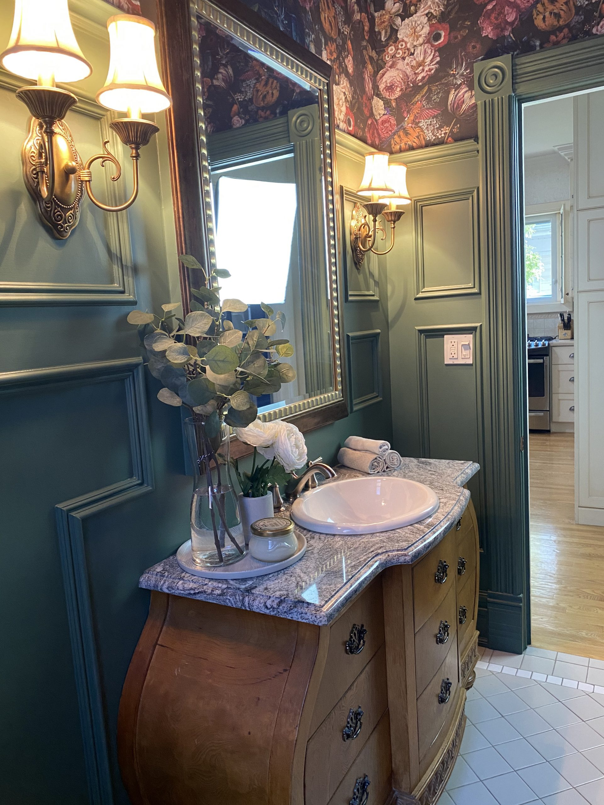 Powder room styling done by interior decorator in Windsor