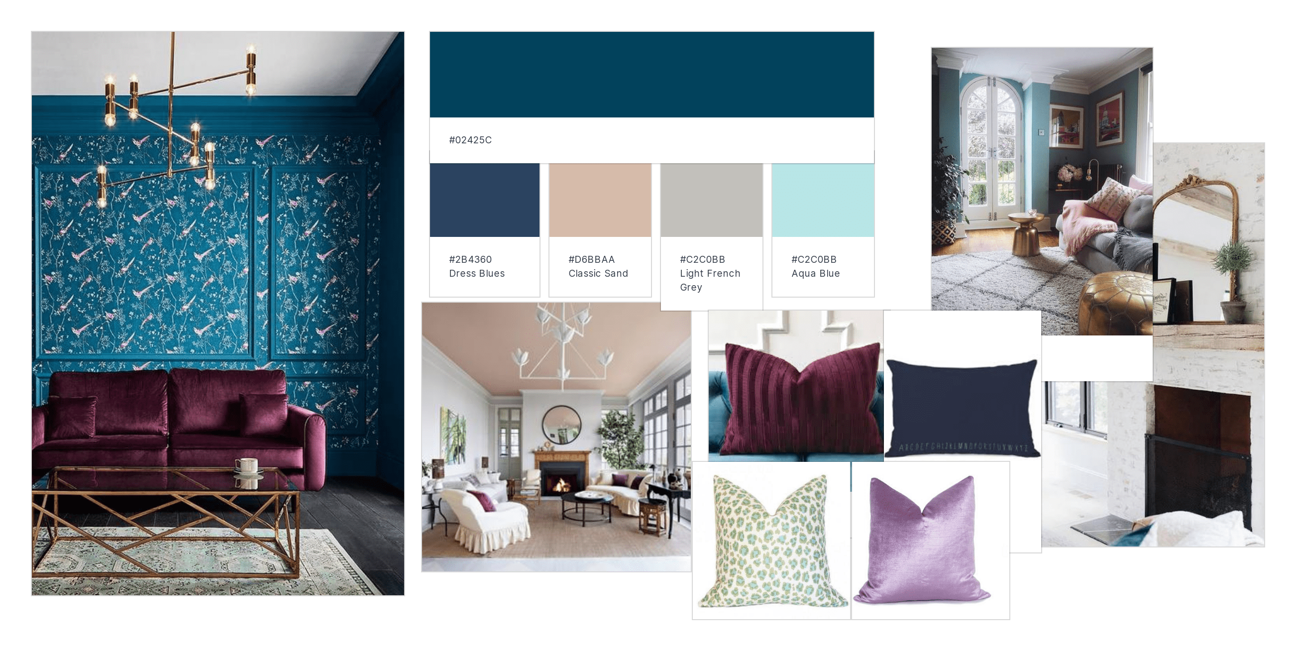 Mood board for Victorian double parlour by interior designer in Windsor