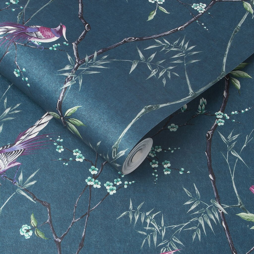 Teal chinoiserie wallpaper that interior designer plans to use in her Windsor living room