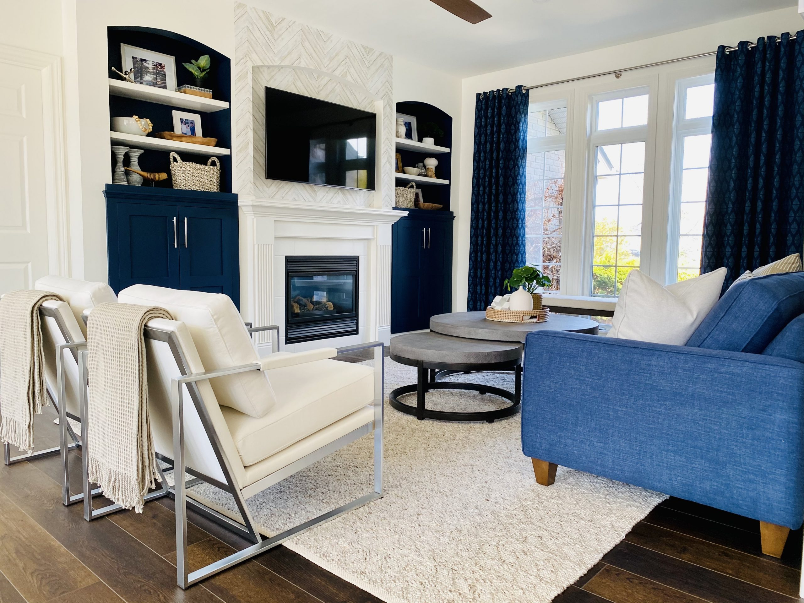 Colourful transitional living room remodel by an interior designer in Chatham-Kent Ontario