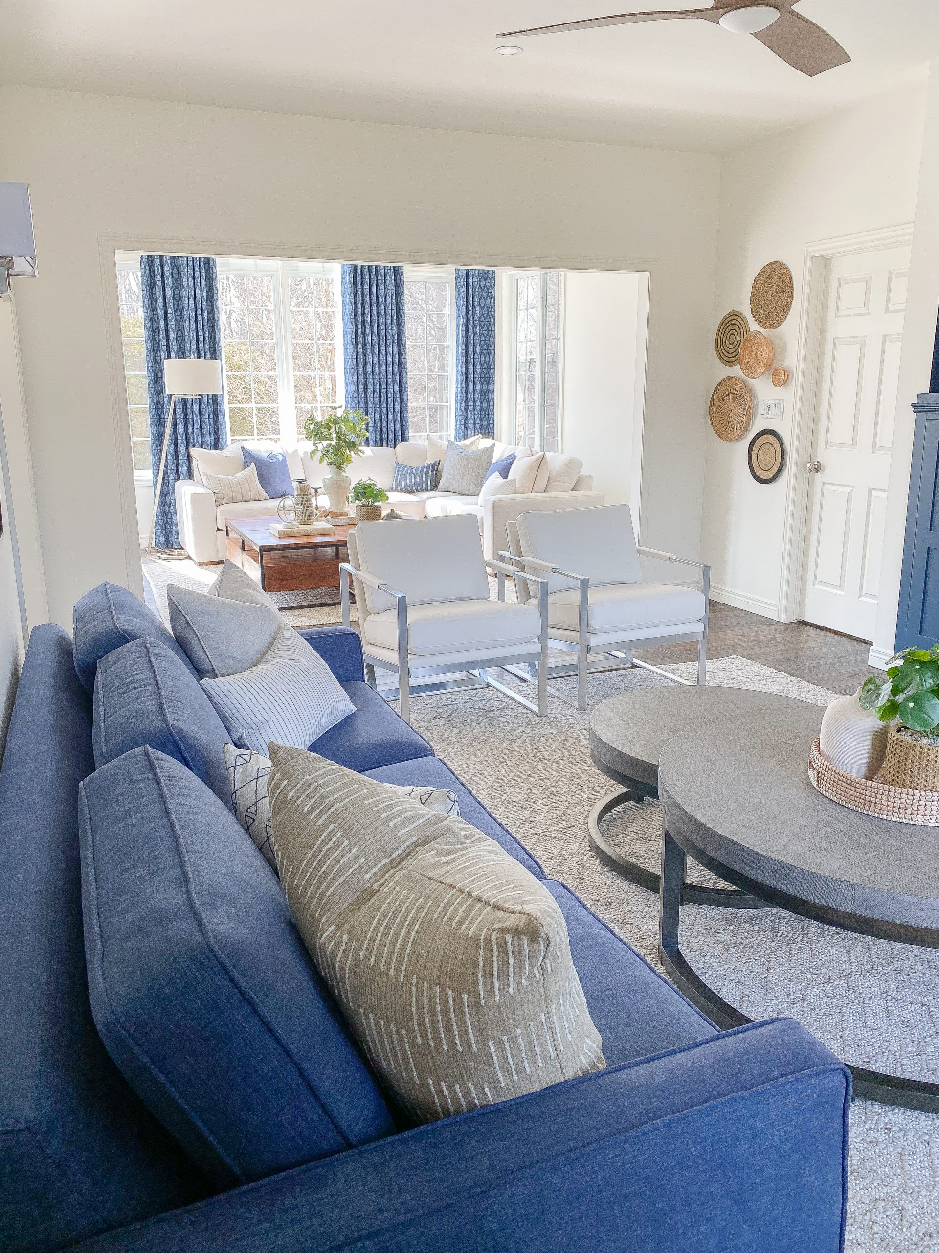 Colourful living room and sunroom transformation by an interior designer in Chatham Ontario