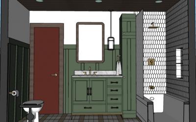 The Cozy Retro Cabin Bathroom